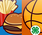 Image of hamburger meal and basketball